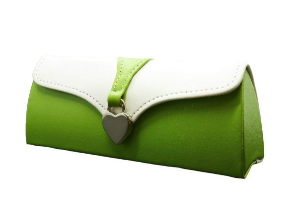 Ladies Clutch Glasses Case Green and White