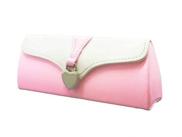 Ladies Clutch Glasses Case Pink and White