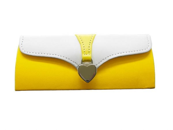 Ladies Clutch Glasses Case Yellow and White
