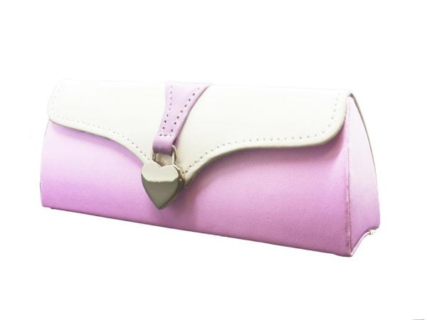 Ladies Clutch Glasses Case Purple and White